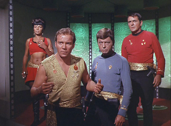 Uhura, Kirk, McCoy, and Scotty in the Mirror Universe